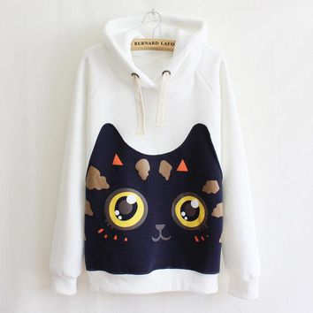 2018 Harajuku Kawaii Hoodies Women Sweatshirts Lovely Ear Cat Print Cartoon Autumn Winter Fleece Pullover Hooded Coat Loose