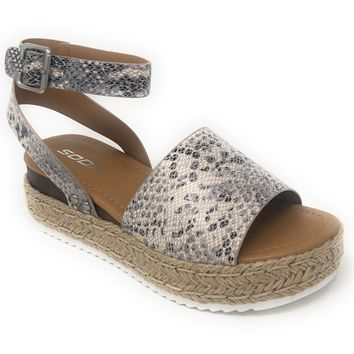 Soda Topic Beige Python Espadrille Platform Sandals