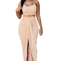 Khaki Faux Suede Two Piece Maxi Skirt Set