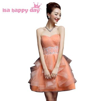 girls princess strapless orange tulle prom special occasion formal dresses pageant dress for party short ball gowns 2018 W3358