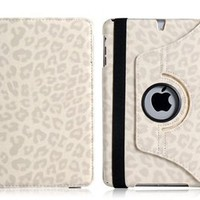 My Associates Store - Wisedeal Quality New Leopard Pattern PU & Plastic Leather 360° Rotatable Rotating Smart Stand Protective Folio Cover Flip Case for Apple iPad Mini White