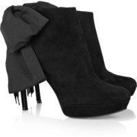 Alexander McQueen | Bow-embellished suede boots | NET-A-PORTER.COM
