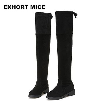2017 Faux Suede Slim Boots Sexy over the knee high women snow boots women's fashion winter thigh  boots shoes woman