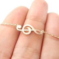 Classic Musical Note Treble Clef Shaped Music Themed Charm Necklace in Rose Gold