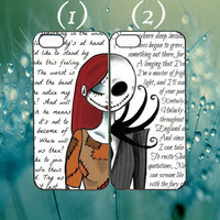 jack and sally nightmare before christmas couple case custom case for iphone 4/4s,5/5s,5c,6,ipod 4,5,samsung Htc M8