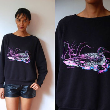 Vtg 1981 Neon Duck Print Black Cotton Sweatshirt