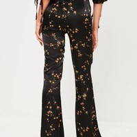 Missguided - Tall Black Printed Floral Trouser