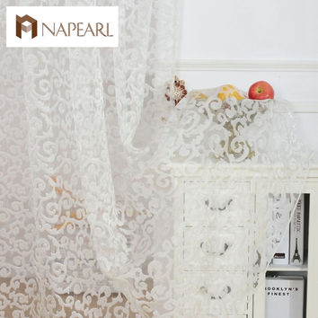 European style jacquard design home decoration modern curtain tulle fabrics organza sheer panel window