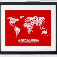 Oh The Places You'll Go - World Word Map with Dr. Seuss Quote - Baby Shower Gift or Child's Bedroom
