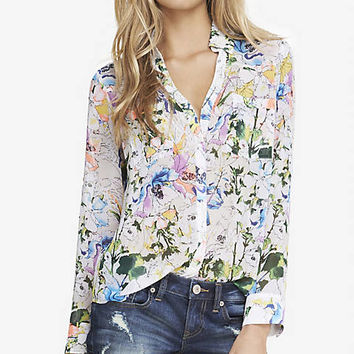 BRIGHT FLORAL CONVERTIBLE SLEEVE PORTOFINO SHIRT from EXPRESS