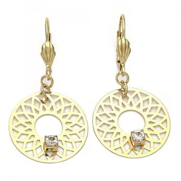 Gold Layered 02.64.0062 Dangle Earring, Filigree and Flower Design, with White Cubic Zirconia, Matte Finish, Gold Tone
