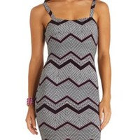 Cage-Back Mixed Chevron Print Bodycon Dress - Black Combo