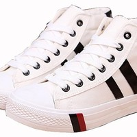 Women's Bold Two-stripes Solid Color Flat Canvas Shoes High Top Sneakers