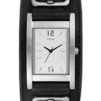 GUESS G66390G Black Cuff Leather White Dial Men WATCH NEW