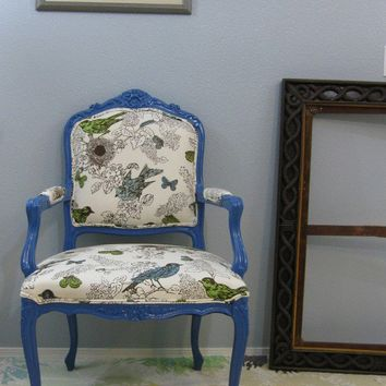 Royal Blue Bird Throne Thomas Paul Chair by RubbishRehab on Etsy