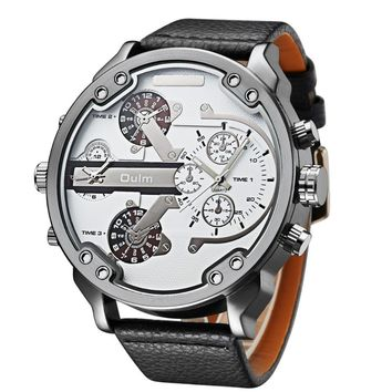 Top Brand Mens 5.5cm Big Face Watches 2 Time Zones White Dial Casual Quartz Wrist Watch Montre Homme de Marque Grande