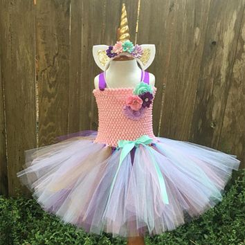 Girls Prom Costumes 2018 Brand Tutu Dresses Rainbow Pony Unicorn Party Dress Toddler Girl Birthday Clothing Princess Lace Dress