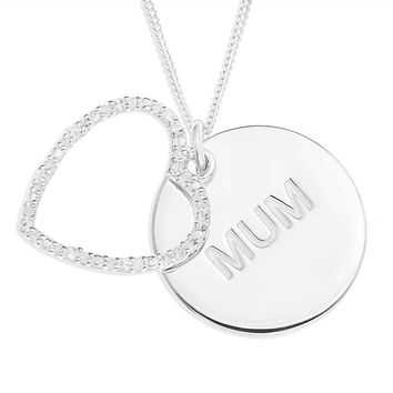 MUM DISC WITH STONE SET HEART PENDENT - STERLING SILVER