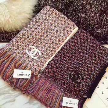 Chanel Women Smooth Cashmere Warm Winter Cape Scarf Scarves I