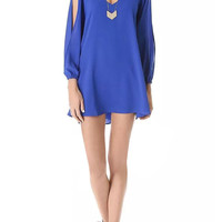 V-neck Dress With Split Sleeve In Blue