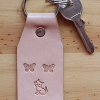 Cat Keychain, Leather Key Chain, Butterflies Key Fob, Kitten Keyring, Butterfly Keychain, Cat Key Fob, Butterfly Keyring, Cat Keyring