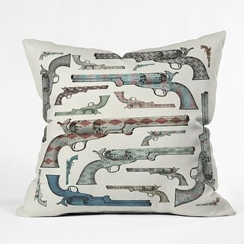 Belle13 Vintage Pistols Throw Pillow