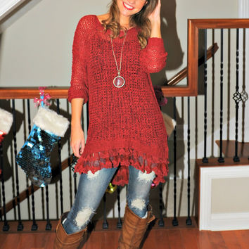 Pure Innocence Sweater with Lace: Burgundy