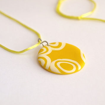 Round Yellow Pendant, Adjustable Small Pendant, OOAK
