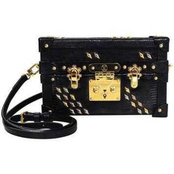 Tagre™ ONETOW Louis Vuitton Black Lizard Studded Petite Malle Crossbody Bag with Box