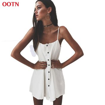 OOTN Summer Vintage Women Dress Buttons Down White Slip Dresses Female Straight Sundress 2017 Summer Party Club Beach Wear Work
