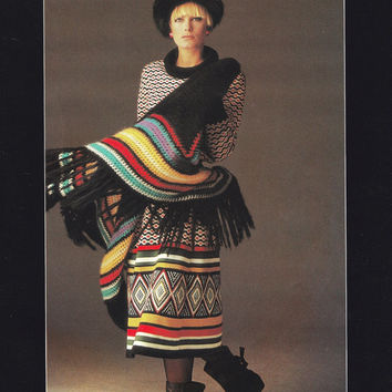 Vintage skirt shawl pattern PDF Instant Download pullover sweater knitting womans sweater supplies knitting pattern vtg tribal pattern pdf