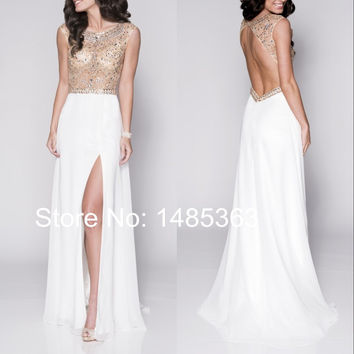 Fashionable Chiffon Party Dress with Cap Sleeves Crystals Beaded Pattern Long White Prom Dresses Side Slit Sexy Backless 2015