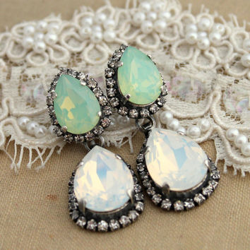 Mint and white Opal Chandelier earring statement Crystal earrings -  silver plated oxidized  real Swarovski crystals.