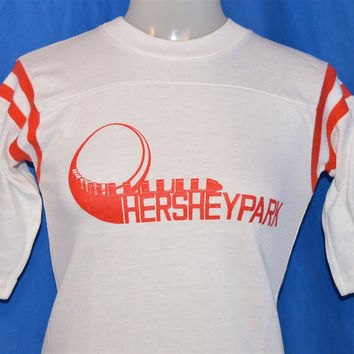 70s Hershey Park Super Dooper Looper White and Red Striped Raglan Sleeve Jersey t-shirt Youth Medium 10-12