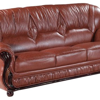 Mina Brown Leather Sofa