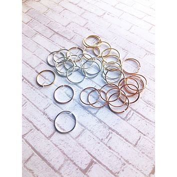 Set of 2 26g Small Tiny Thin Hoop Sterling 14k Gold Nose Ear Helix Tragus Cartilage Eyebrow Rings Snug custom piercing