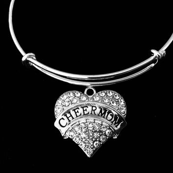 Cheer Mom Jewelry Adjustable Bracelet Expandable Silver Charm Wire Bangle Crystal Heart One Size Fits All Gift Trendy Cheerleader Stacking