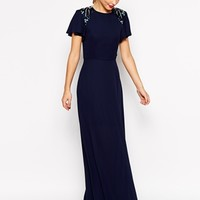 ASOS Sleeved Embellished Maxi Dress