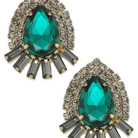 Bar III Earrings, Gold-Tone Green Stone Stud Earrings