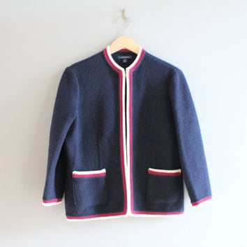 Navy Blue Boiled Wool Blazer Wool Cardigan Formal Wool Jacket Wool Jacket Canada Made Minimalist Vintage 90s Size S - M