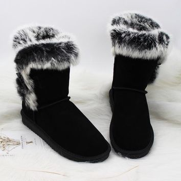 MIYAGINA Women's 100% Real Natural Rabbit Fur Snow Boots Genuine Cowhide Leather women Boots Female Winter Shoes