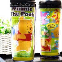 Disney Winnie the Pooh Tigger Piggy Plastic Double Wall Thermos Travel Mug Coffee Tea Cup Lid 13-ounce