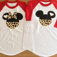 Free/Fast  Shipping for US  Team Mickey Team Minnie Mouse Leopard Print  Baseball  Couples T-Shirts