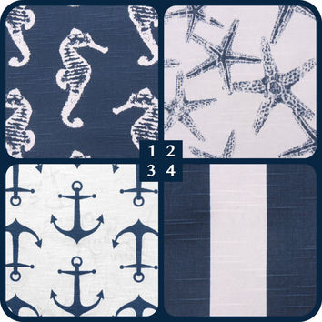NEW Nautical Navy Blue Collection Throw Pillow cover by Pillomatic