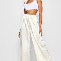 Satin Wide Leg Trouser | Boohoo