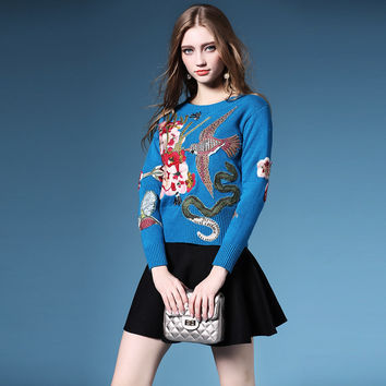 HIGH QUALITY Newest Fashion 2016 Runway Women's Long Sleeve Luxury Crystal Beading Bird Embroidery Vintage Pullover Sweater