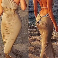 Coffee Colored One Shoulder Ruched Backless Floor Length Dress