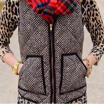 Textured Herringbone Quilted Puffer Vest Women Gold Zipper veste