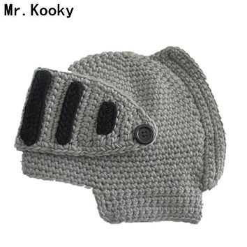 Mr.Kooky Novelty Children Roman Knight Armor Caps Cool Cute Winter Handmade Knitted Hats Helmet Baby Boy Girl Crocheted Beanies
