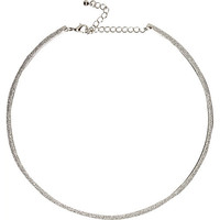 River Island Womens Silver tone skinny glitter necklace